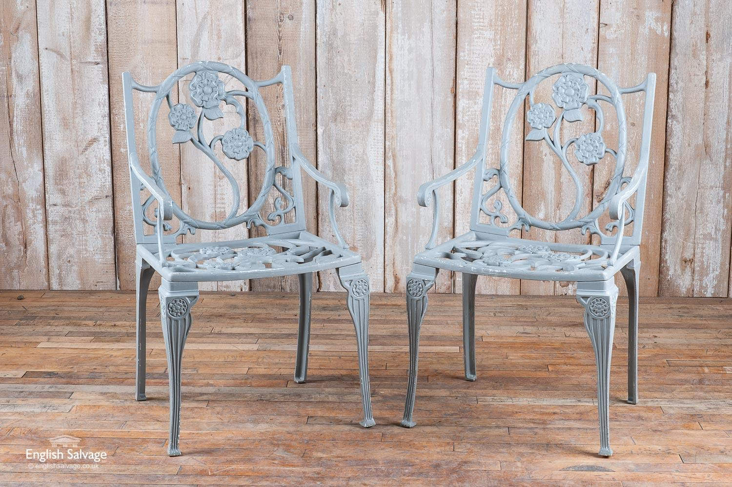 Set Of Four Tudor Rose Style Garden Chairs