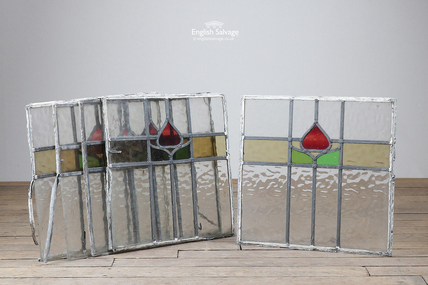 Set Of Leaded Stained Glass With Tulip Motif