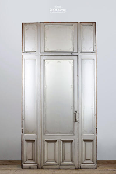 Single Door Etched Glass Panel Frame Fanlight
