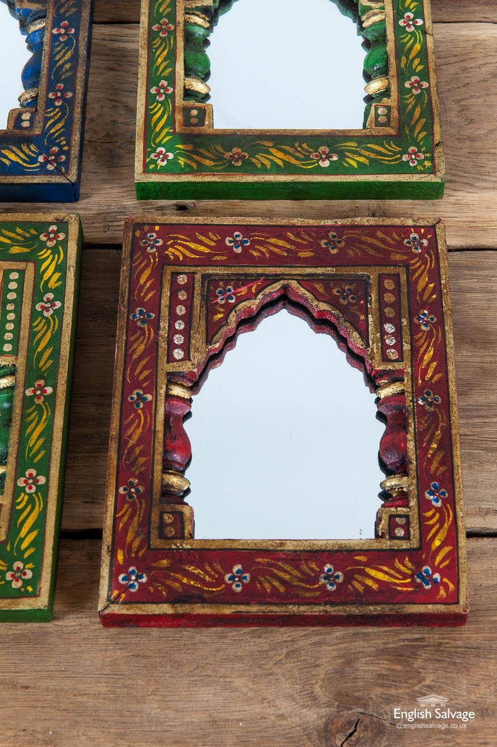 Small Indian Mirrors In Handpainted Frames