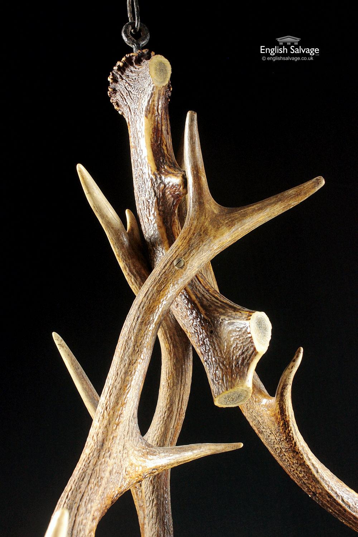 Striking 6 Piece Red Deer Antler Chandelier