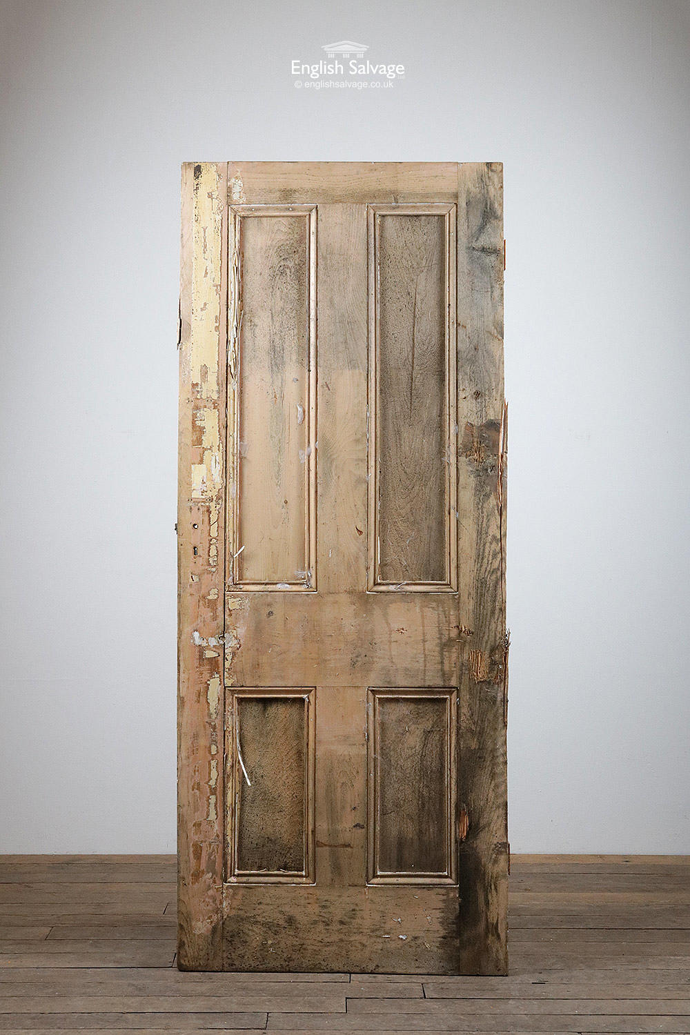 Stripped Pine Beaded Four Panel Old Door