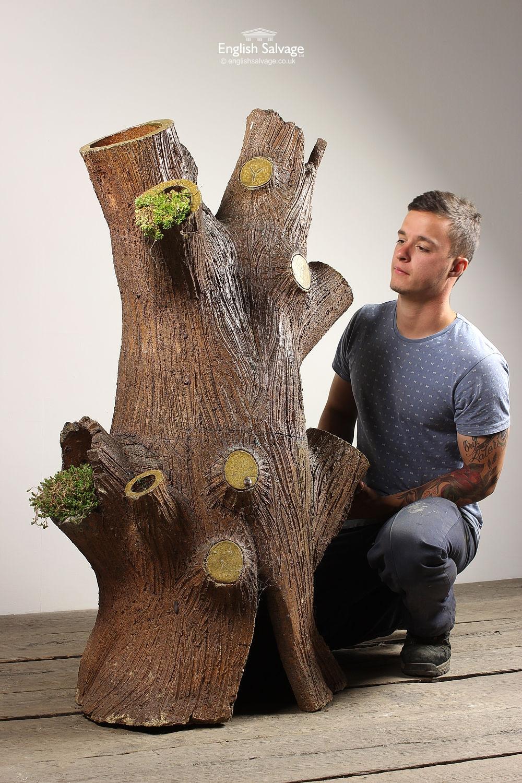 Unusual Terracotta Glazed Tree Stump Planter