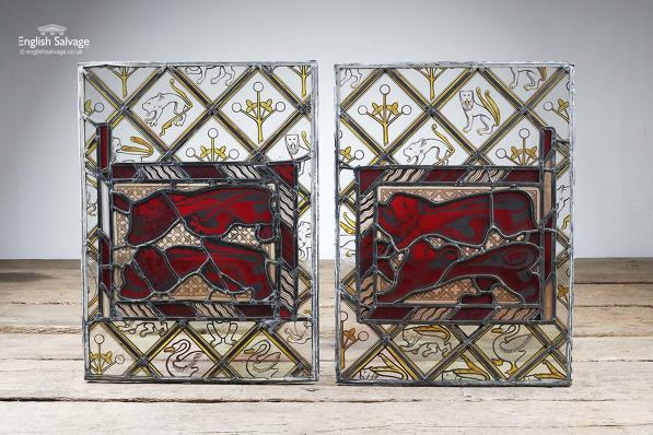 Victorian Stained Glass Red Lion Window Panel