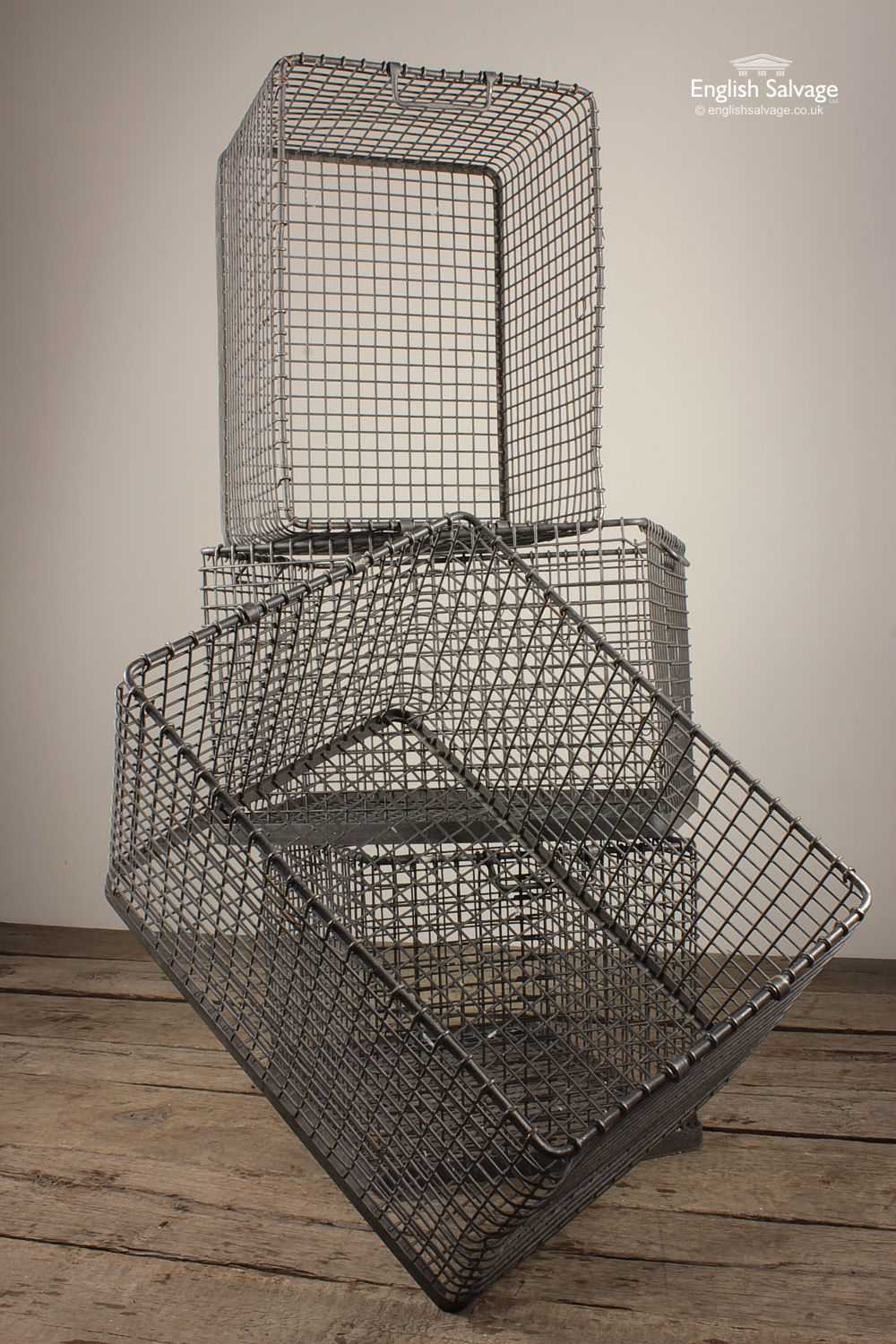 Vintage 80s Stackable Galvanised Wire Crates