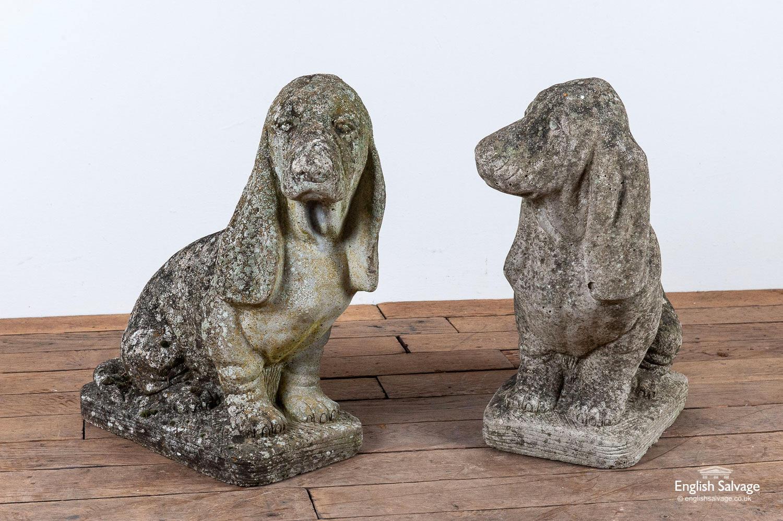 Vintage Basset Hound Garden Statues