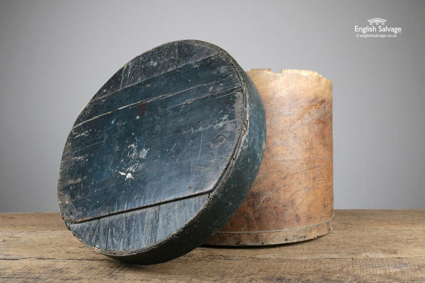 Vintage birch bark lidded round ration box