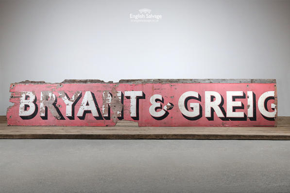 Vintage Distressed Bryant & Greig Wooden Sign