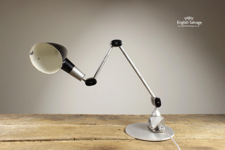 Vintage Edl Silver Star Industrial Desk Lamp