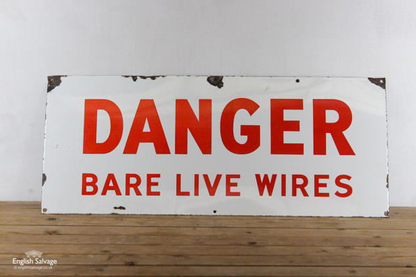 Vintage enamel danger sign