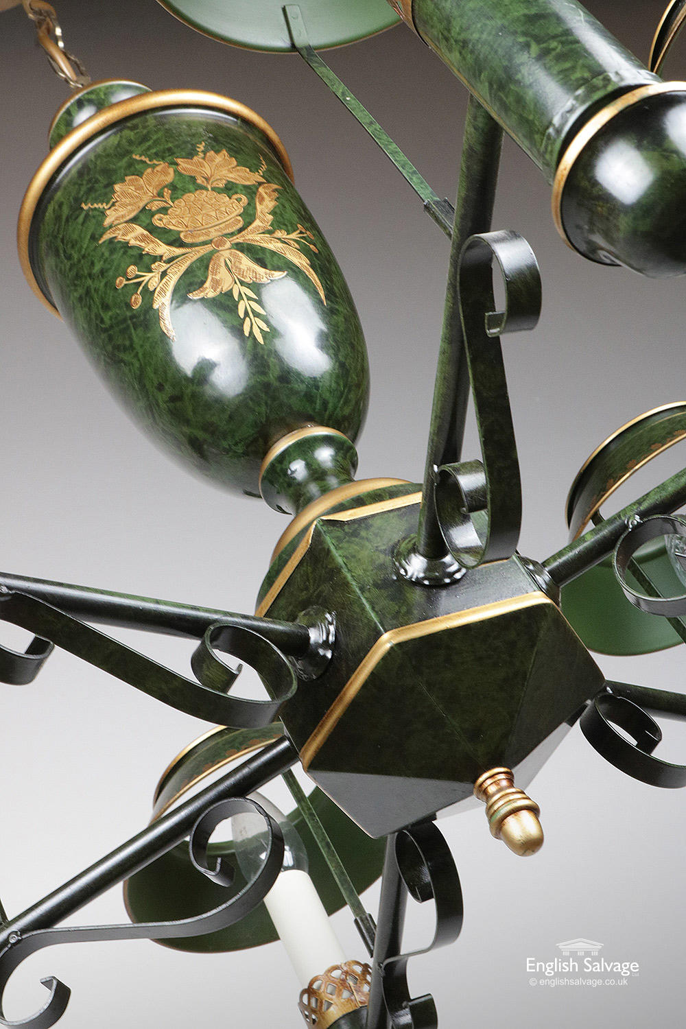 Vintage Green And Gold Toleware Ceiling Light