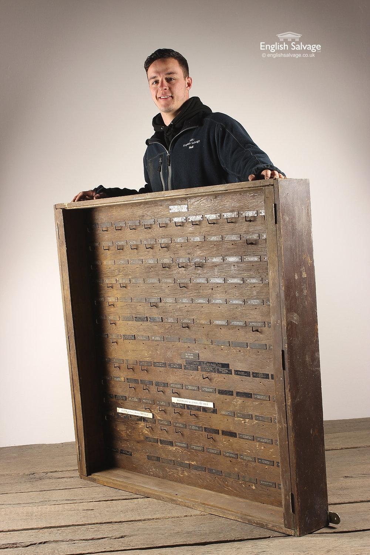Vintage Industrial Wood Key Rack Cabinet Box