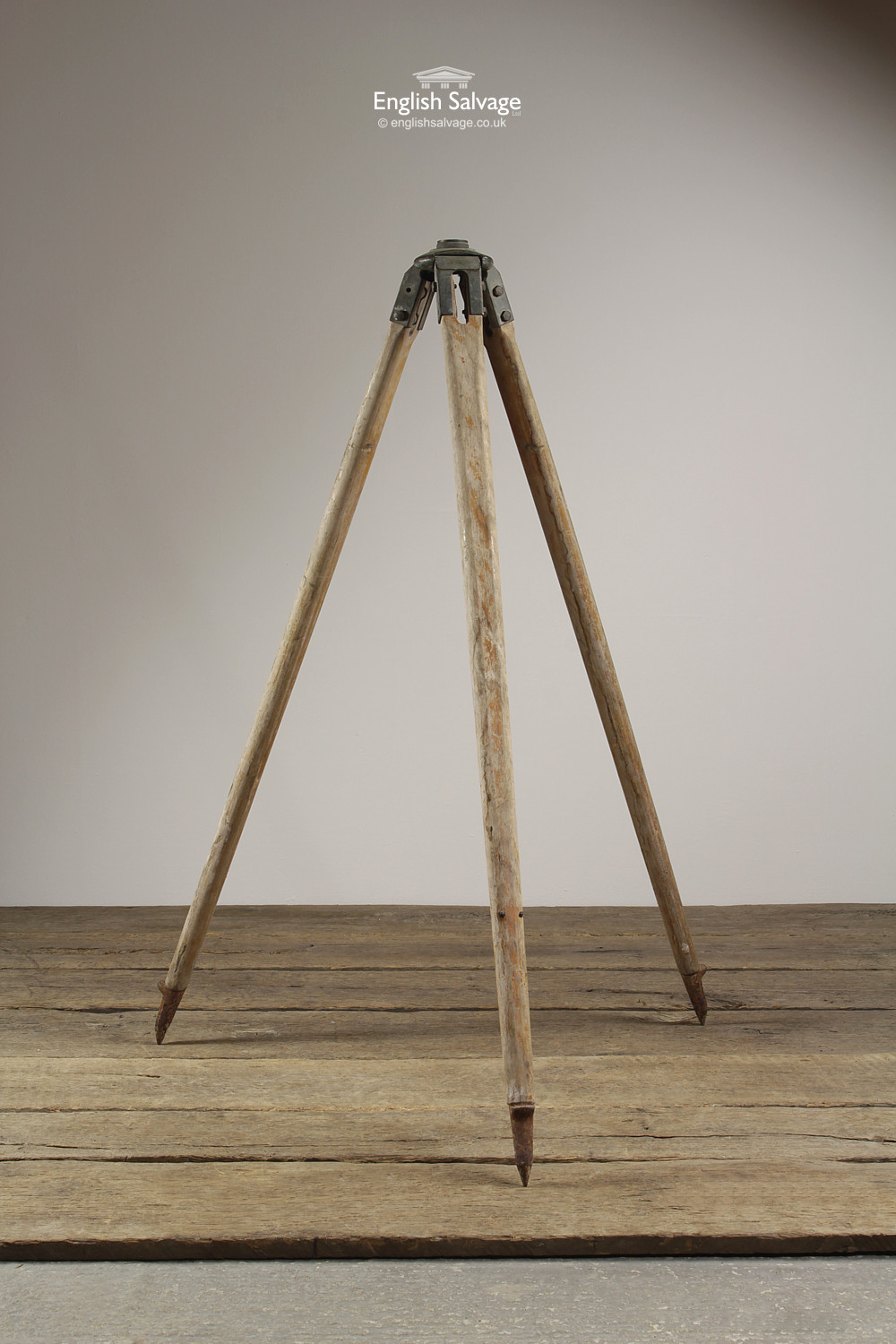Vintage Industrial Wooden Tripod Light Stand
