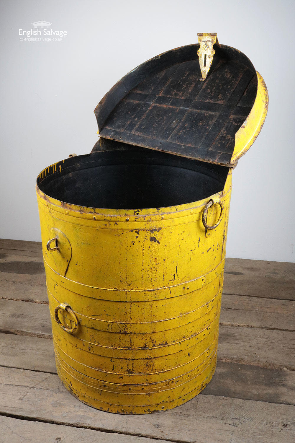 Vintage Metal Barrel Yellow Storage Container
