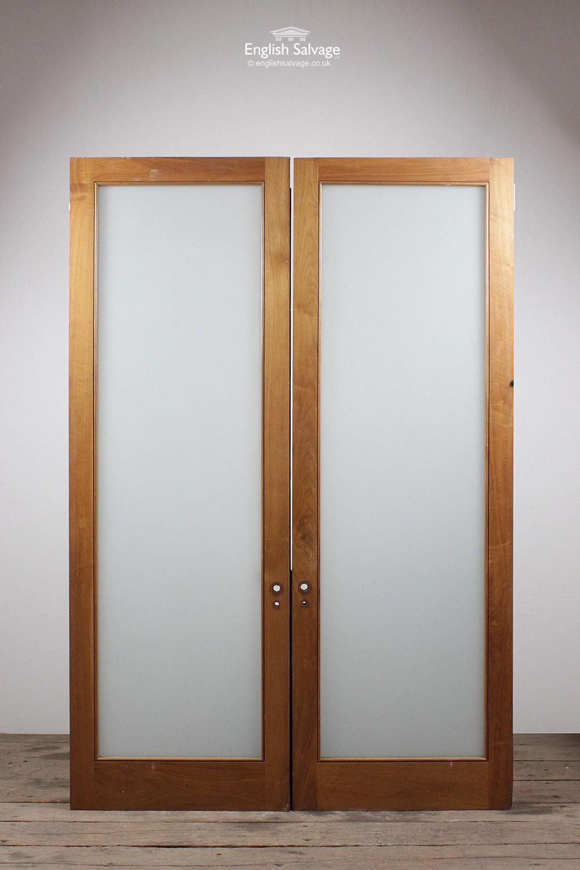 Vintage Oak Opaque Glass Panel Double Doors