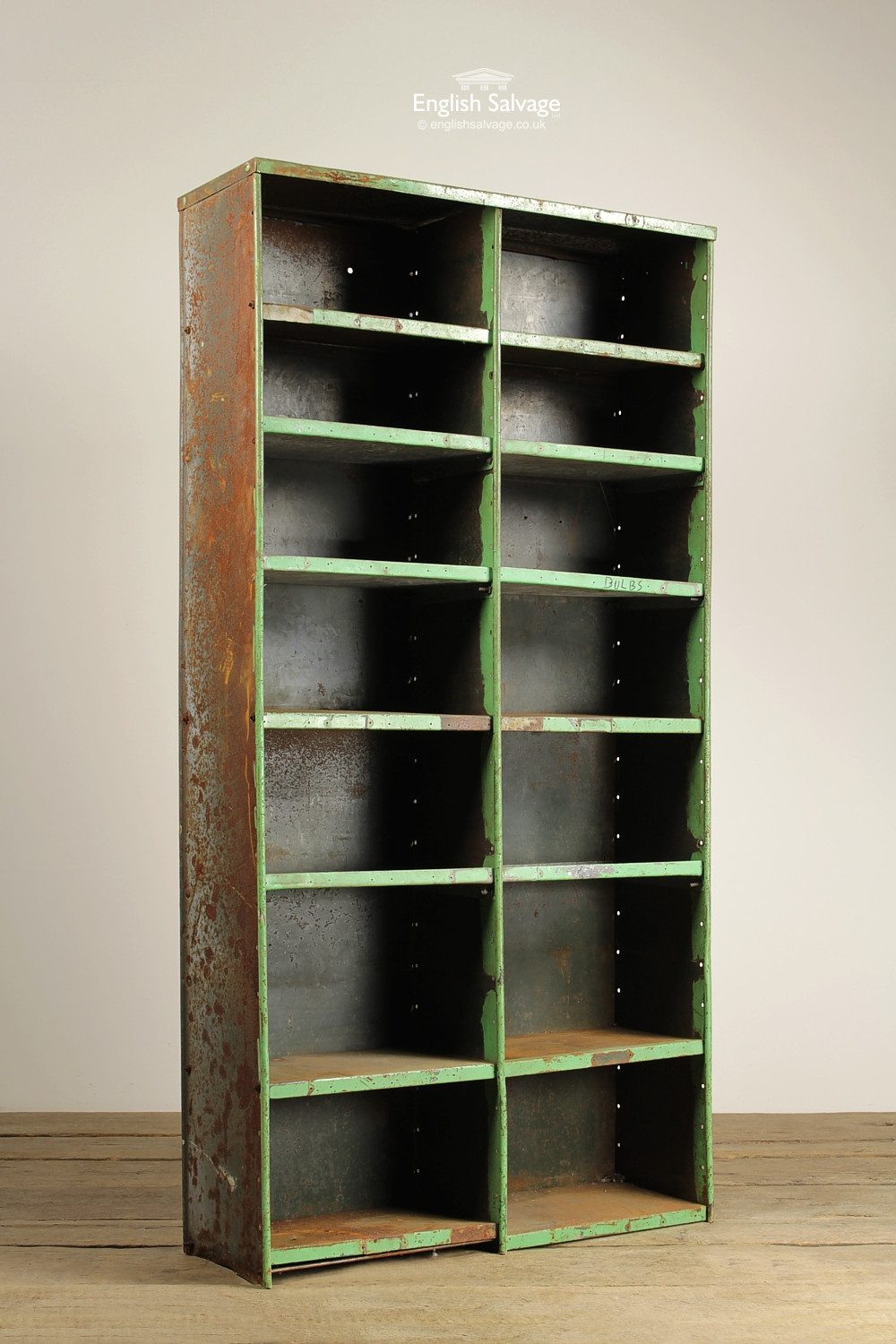 Vintage Steel Pigeon Hole Storage Shelf Unit