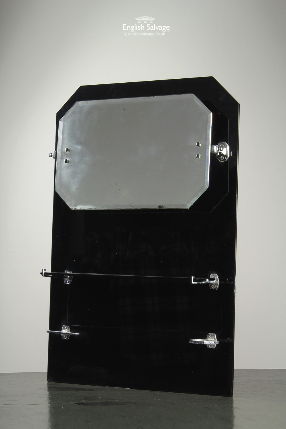 Vintage Vitrolite Bathroom Mirror With Shelf