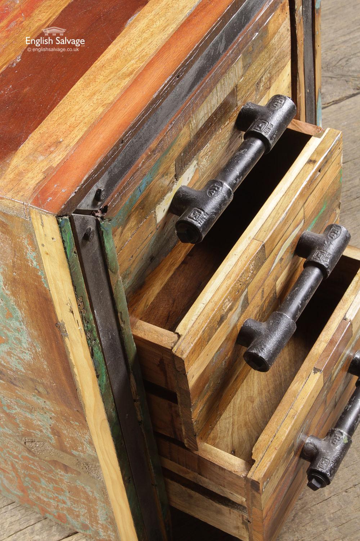 Vintage Wooden 3 Drawer Bedside Cabinets