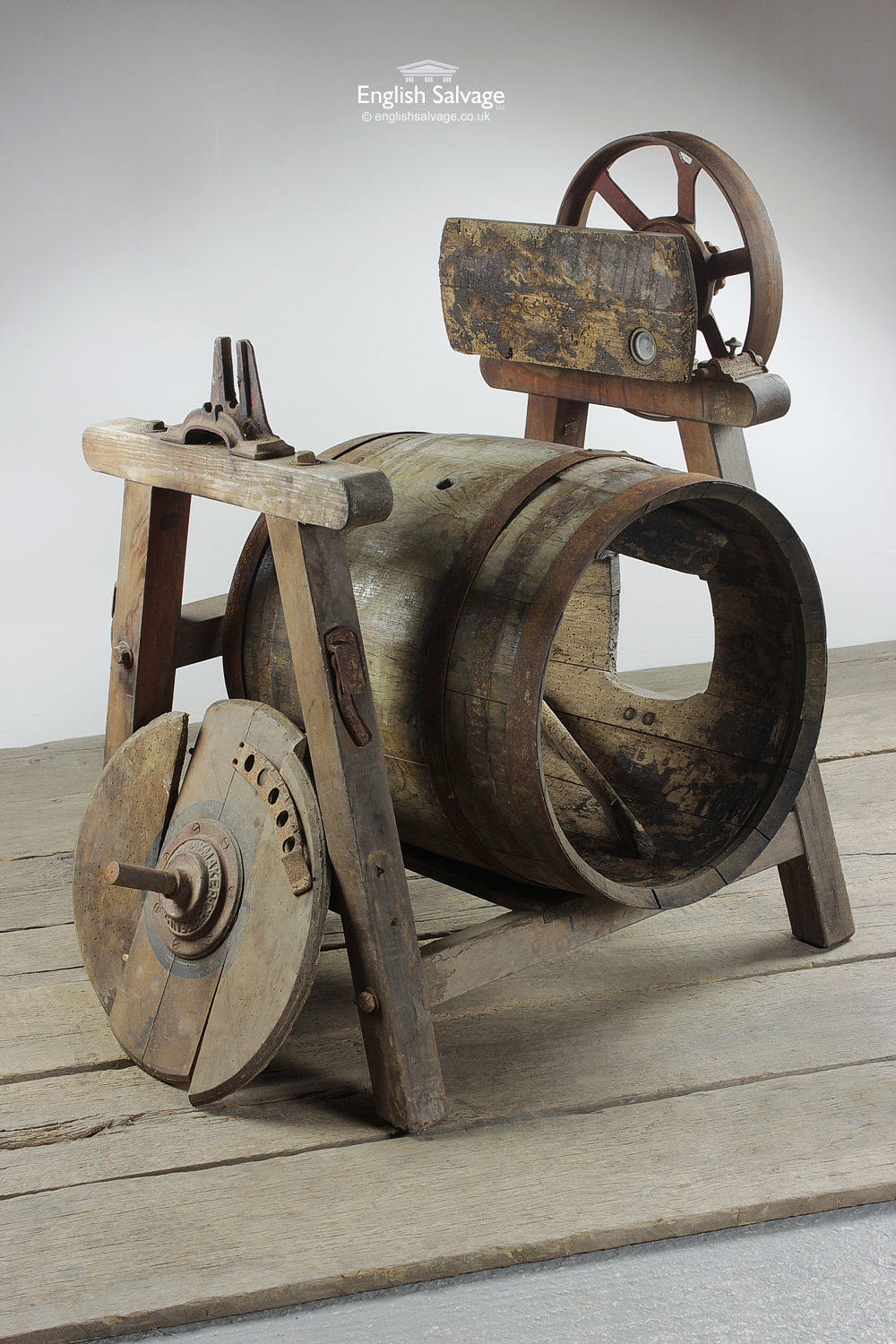 Vintage Wooden Butter Churn On Stand