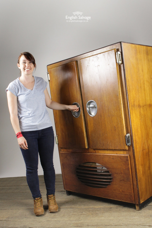Vintage Wooden Refrigerator With Freezer