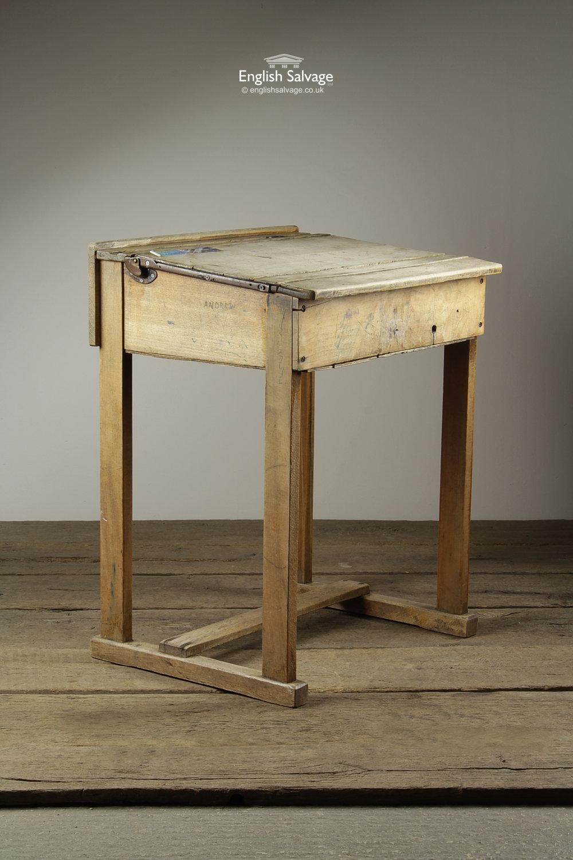 Vintage Wooden School Desks with Hinged Lids