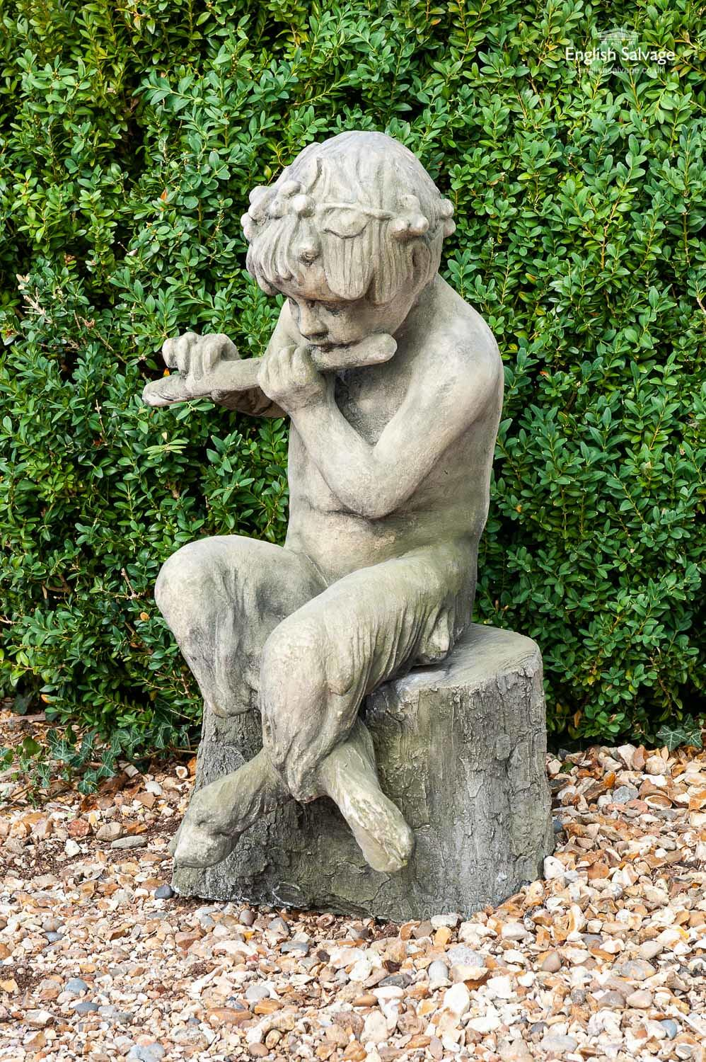 Weathered Look Statue Of Faun Playing A Flute