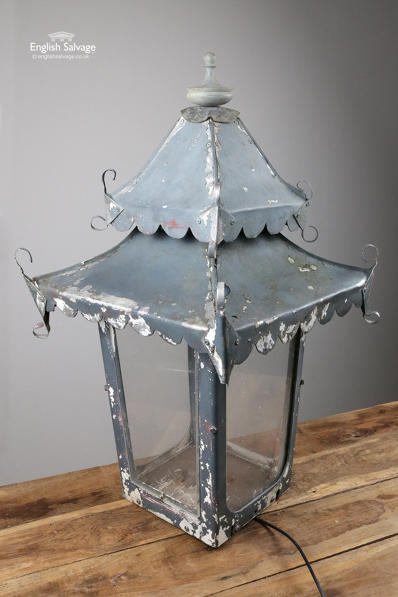 Weathered post-mounted lantern