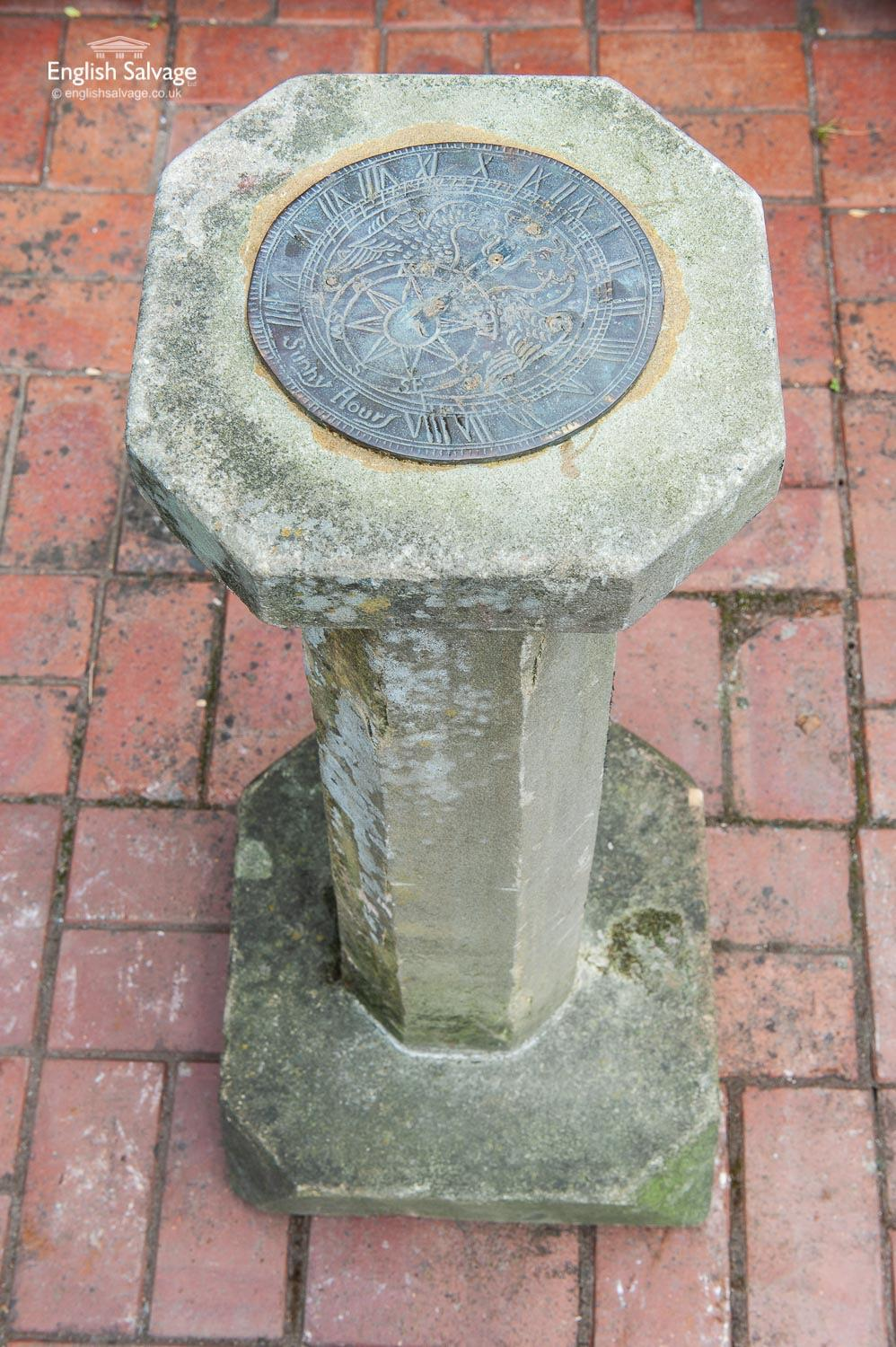Weathered Sundial With Brass Face