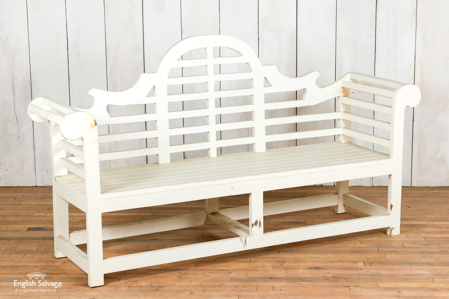 White Painted Lutyens Style Bench