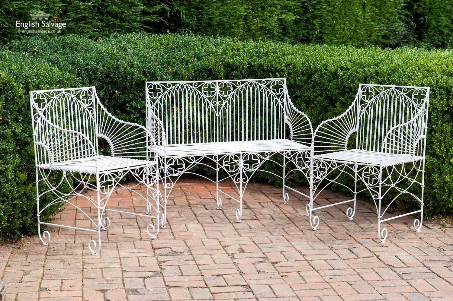Wirework Garden Bench And Two Chairs Set