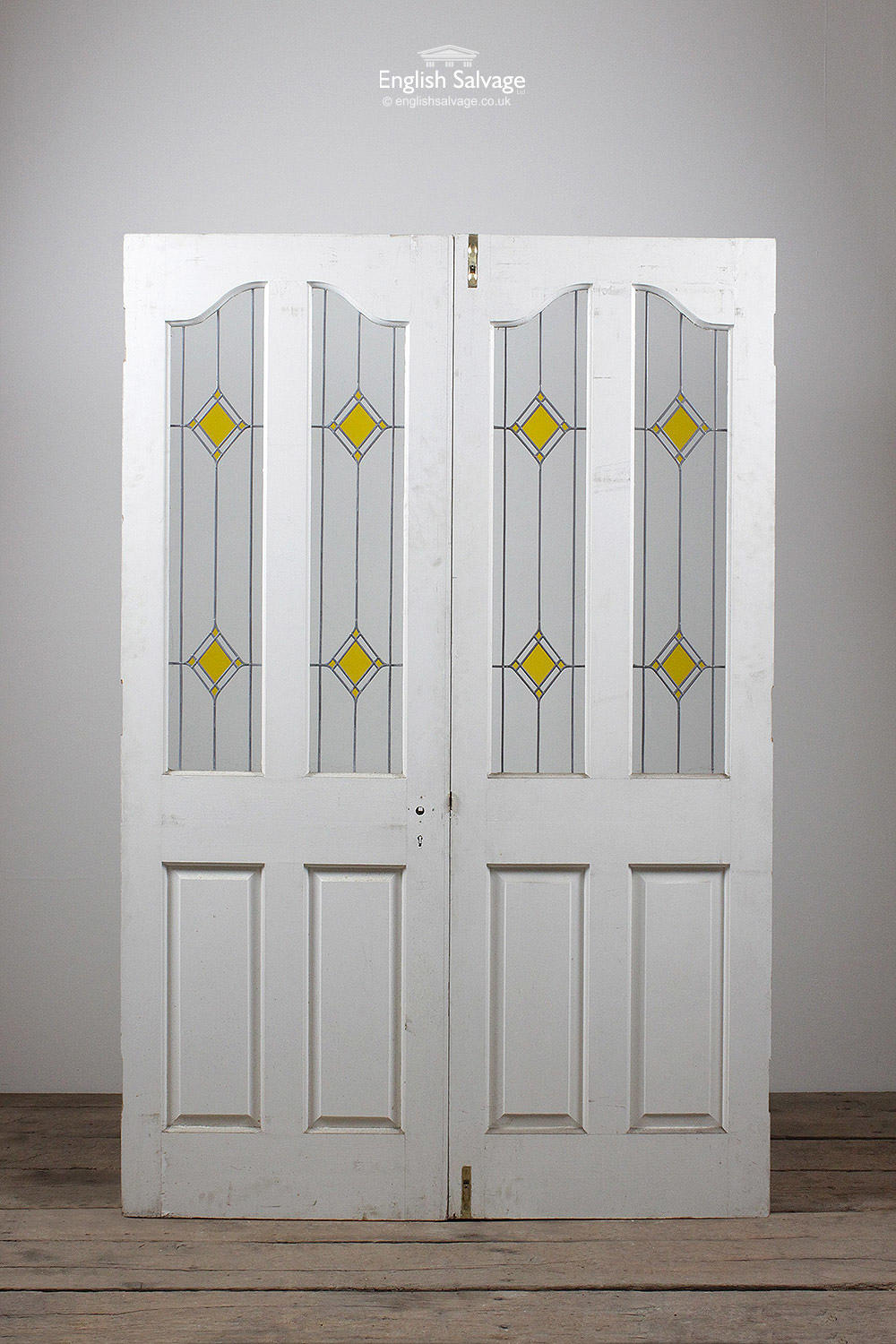 Yellow Diamond Leaded Glass Pine Double Doors
